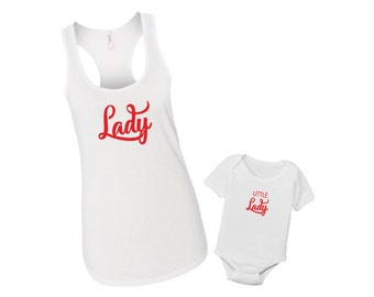 Lady and Little Lady - Mommy & Me Baby Matching Shirt Set