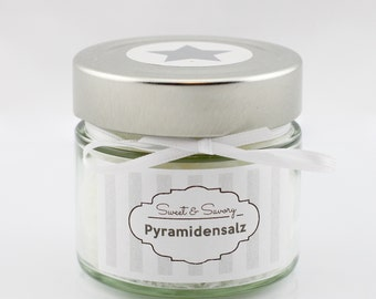Pyramid salt white cooking for him and her ideal as gift to grill gourmet salt, Fleur de Sel, finger salt, salt, 100 g