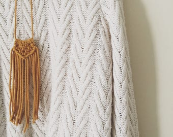 Knotted Fringed Necklace In Mustard