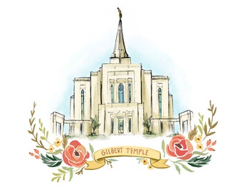 Gilbert Arizona Temple, LDS, Mormon, Wedding gift, Christmas gift, latter day saint, FHE, wall art decoration, young womans, relief society