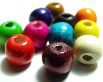 100x Medium-Sized Abacus Round Wooden Beads 8 mm - Mixed Colours - TOP SELLERS