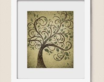 Rustic Wall Art 8 x 10 Tree Print, Natural Green Earth Tones, Earthy Brown Decor, Whimsical Wall Art, Dark Brown Art Print (160)