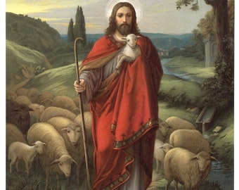 Jesus, the Good Shepherd 8x10  Print Picture Art by Oswald Voelkel Printed in Italy