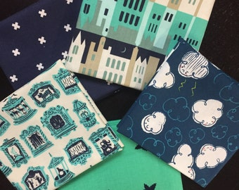 Moon, Clouds and Stars Fabrics - Curated Fabric Bundle featuring Penny Arcade by Cotton and Steel - 5 Fat Quarters