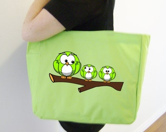 Green owls tote bag - owl themed gift - polyester tote bag - original design owl bag - owl lover tote - lime green owls - owl heat transfer