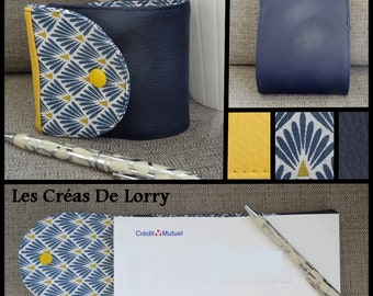 Checkbook leather Navy Blue and yellow