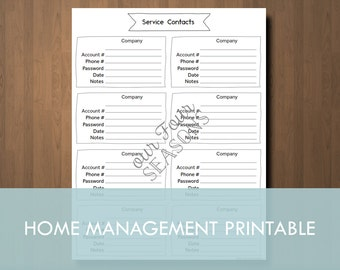 Home Management Form Home Services Form Home Utilities Contact Form | Printable