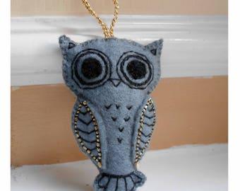 Owl Hanging Deco, Bespoke Gift Idea, Stocking Filler, Stocking Stuffer, Secret Santa Gift, Owl, Personalised Felt Animals, Embroidered Owl