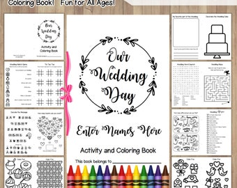 Wedding Coloring Book Printable Instant Download / Children's Activity Book / Wedding Coloring Pages / Reception Favors for Kids / Editable