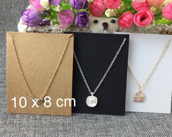 100 PCS necklace cards, jewelry display cards, white necklace display, kraft cards, black display card, necklace holder, jewelry packaging