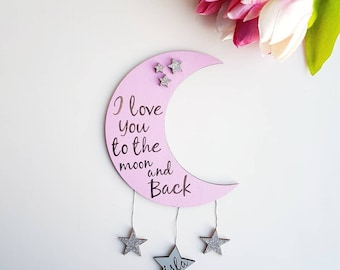 15cm wooden hand decorated moon and 3 stars decoration wall hanging decor nursery quote glitter bedroom kids children gift