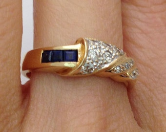Blue Sapphire Diamond Ring - 14K Yellow Gold