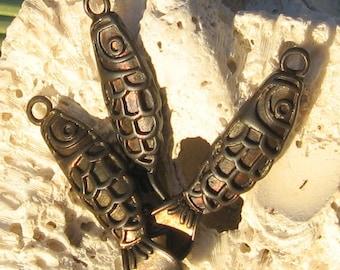 fish charm , KOI fish pendant , dark antique patina 2 pcs