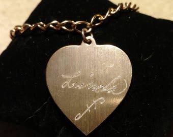 """Vintage Goldtone Link Bracelet w/ LG. Heart Charm Engraved """"Linda"""""""