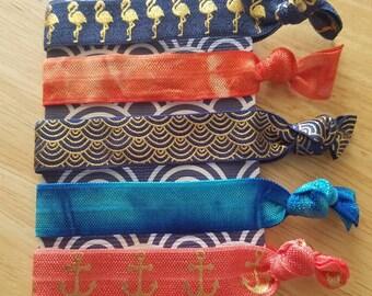 Elastic hair ties, fold over elastic ties, orange hair ties, blue hair ties, creaseless hair ties, glitter elastic ties