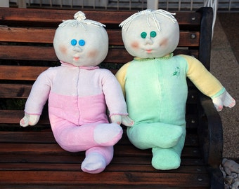 Big Stuffed Doll. Home Decor. Soft Sculpture. Baby Boy Doll in Green or Baby Girl Doll in Pink. Jersey Doll. Cotton Doll. Made in Israel