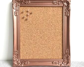 SMALL ROSE GOLD Pinboard   Rose Gold Corkboard   Small Rose Gold Pin board   Framed Pin Board   Rose Gold Ornate Cork Board 