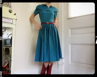 1950s Blue Sundress 1950s Day Dress 1950s Square Dancing Dress Western Dress 1930s Day Dress 1950s Cotton Sundress Rockabilly Dress Pin Up