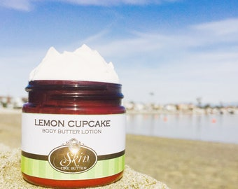 Body Butter Lotion // LEMON CUPCAKE // Lotion for dry skin  // Available in an 2 oz bottle or jar // non-greasy