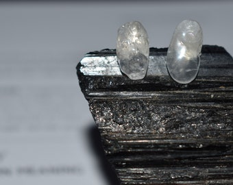 crystal healing clear quartz stud earrings