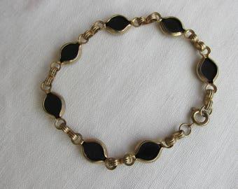 Bracelet - Onyx Bracelet - Link Bracelet - Vintage