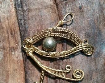 Eye Of Horus Inspiration Pyrite Pendant
