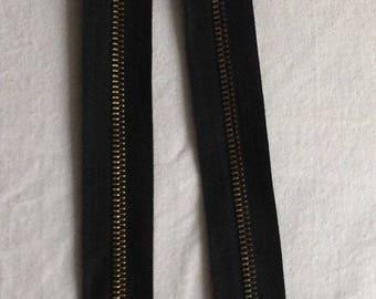 Zipper zip detachable black bronze metal sewing notions 75 cm