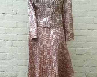 Vintage 1950s Clevaline jacket and dress suit light brown geo spot