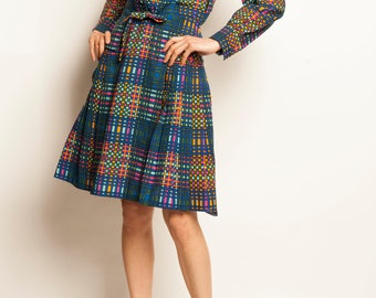 Yves Deflandre checked pattern wool day dress