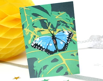 Blue Butterfly Card - Blue Morpho Butterfly - Garden Birthday Card - Gardening Gifts - Insect Nature Lover Card - Mother's Day Card