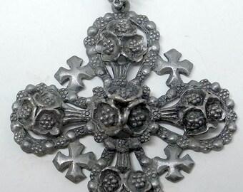 Brutalist Jerusalem Cross - Vintage Jerusalem Cross - Vintage Brutalist Necklace - Unisex - Man or Woman