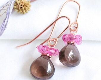 Smoky Quartz and Pink Quartz Dangle & Drop Earrings in Rose Gold, Dainty Brown and Pink Gemstone Earrings, Handmade Earrings, OOAK Jewelry