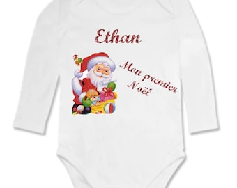 personalized white Bodysuit with name my first Christmas