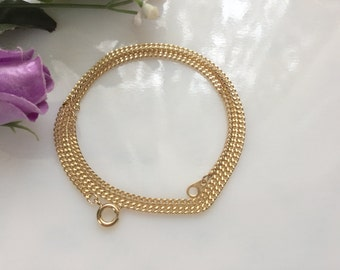 18 Inch Gold Plated Diamond Cut Curb Chain Necklace, Jewelry Supply