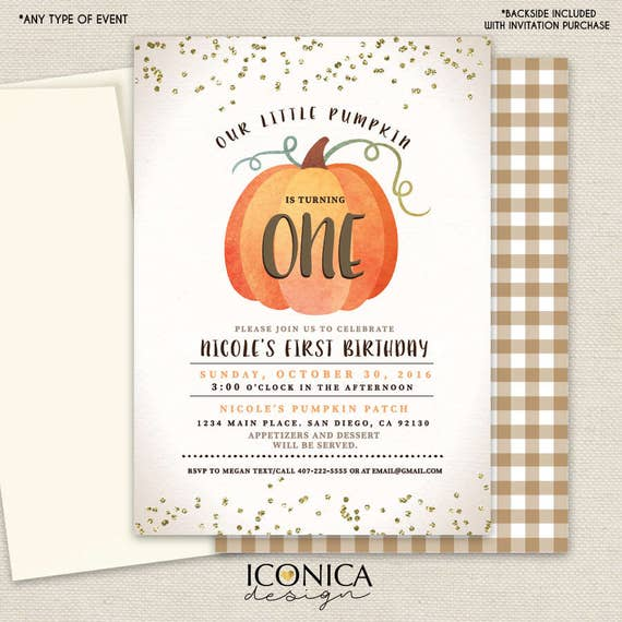 Pumpkin First Birthday Party Invitations Halloween Party