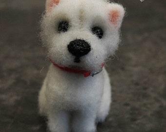 Westie. Needle felted dog miniature. ~FREE SHIPPING~