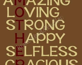 PRIMITIVE STENCIL - ITEM 6064 U - Mother amaing loving strong happy selfless - Create Your Own Sign - Clear 5mil Mylar