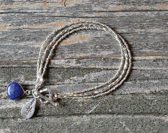 Hill Tribe Silver 3 Strand Bracelet - Handstrung Bracelet - Sterling Silver, Lapis Lazuli Bezel Charm