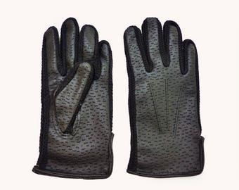 Vintage Lined 70s Black Faux-Leather Gloves 6-8 Y