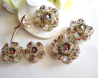 Sarah Coventry Fashion Flower Brooch and 2 Pair Earring Set Vintage Red and AB Rhinestones Gold Tone Filigree