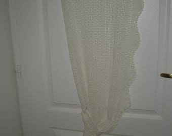 White curtain with hand-made hook