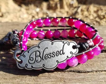 Ruby Mix Double Wrap Beaded Bracelet