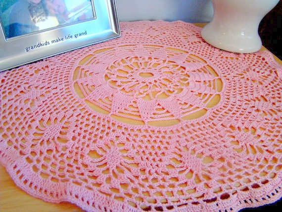 Touch of pink crocheted doily