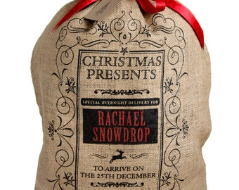 Personalized Christmas sack, flourish border design Christmas stocking with red ribbon