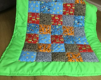 Childrens Patchwork Quilt Jungle Theme Giraffes Zebras Monkeys Pram Blanket Cot Quilt Car seat Blanket Animals Baby Shower Birthday