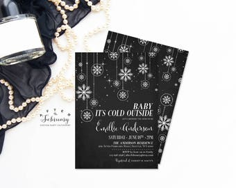 Winter Baby Shower Invitation Baby It's Cold Outside Invitation Snowflake Baby Shower Invitation Ornaments Invitation Printable No.419BABY