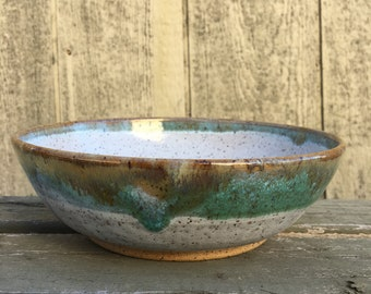 Handmade Speckled White and Green Pasta Bowl