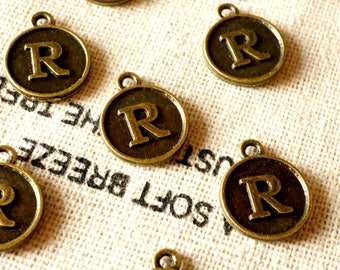 Alphabet letter R charm bronze vintage style jewellery supplies