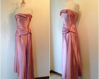 """Vintage Jessica McClintock rose color strapless gown   Ruch at left side   Soft poly feel   Bust 32"""" waist 22""""   Made in U.S."""