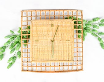 Vintage Rattan and Wicker Wall Clock with Gold Tone Details and German Movement
